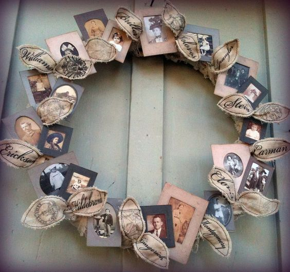 This family photo wreath costs less than $ 10 to make - and what a lovely gift for grandparents or newlyweds! (Just use copies instead of the original photos!)