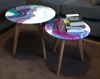 Unique Coffee Table Epoxy Resin Art High Gloss Glitter Design Grey