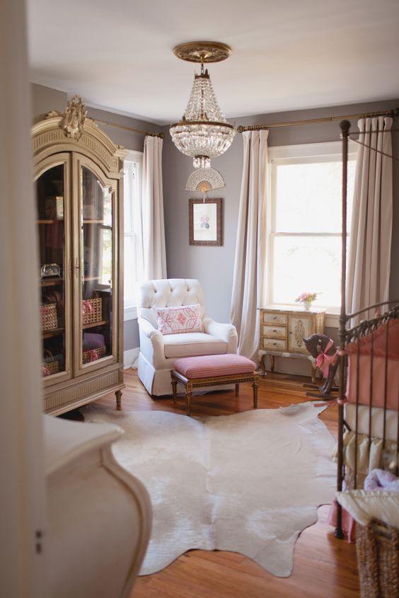 Feminine, vintage nursery featuring antique chandelier and a fab, fresh design - LOVE!