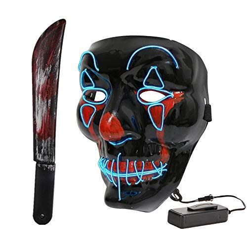 Halloween Scary Clowns Props 2020 Halloween LED Light Up Masks Scary Clown Mask and Machete Cosplay