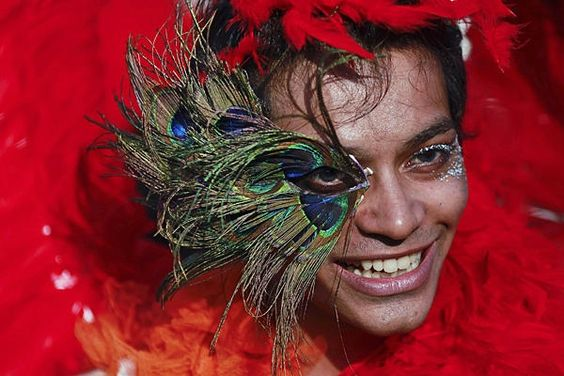 A participant attends Queer Azaadi (freedom) parade, an event promoting gay, lesbian, bisexual and transgender rights in Mumbai. Hundreds of participants on Saturday took part in a parade seeking the Indian government to end discrimination against their community.    Danish Siddiqui/Reuters