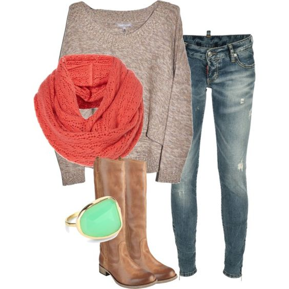 Slouchy sweater, scarf, distressed jeans, boots, colors especially!