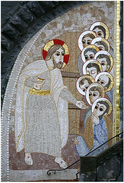 Porche de la basilique Notre-Dame-du-Rosaire - Apparition du Ressuscité - Mystère Lumineux