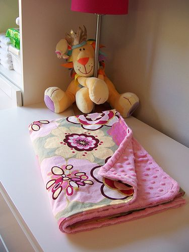 Handmade Baby Blanket. Includes good tips for sewing with minky.