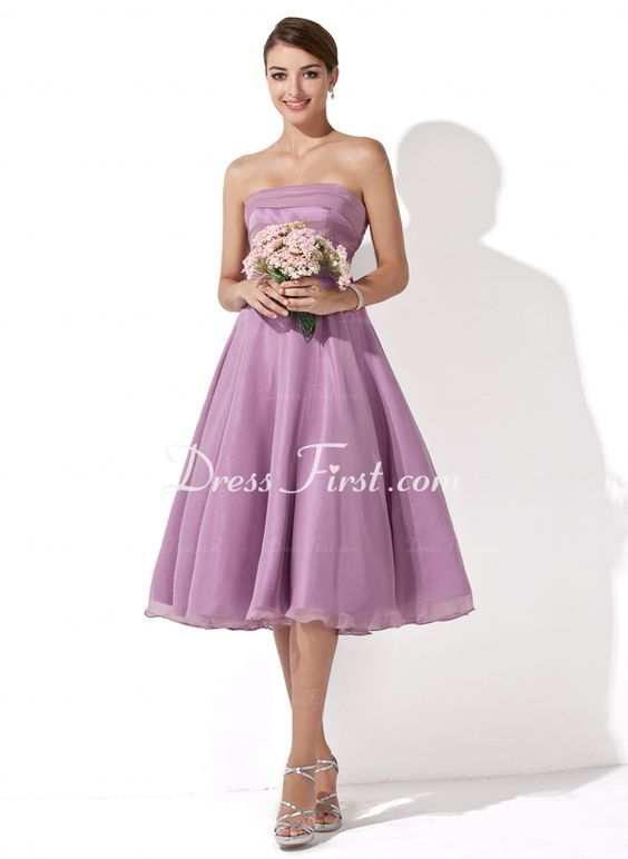 A-Line/Princess Strapless Knee-Length Chiffon Bridesmaid Dresses With Ruffle (007001109) - DressFirst en