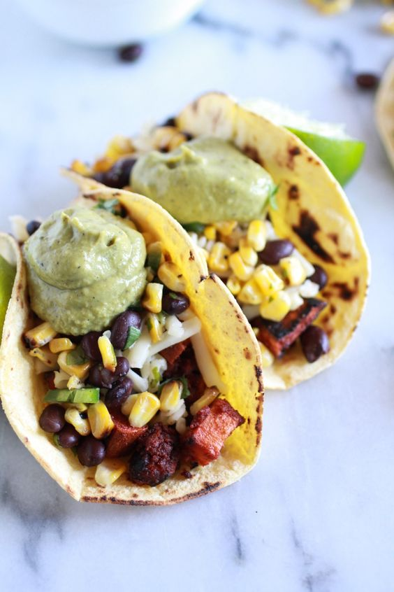 Sweet potato + Chorizo Tacos with Black Bean Salsa and Roasted Poblano ...