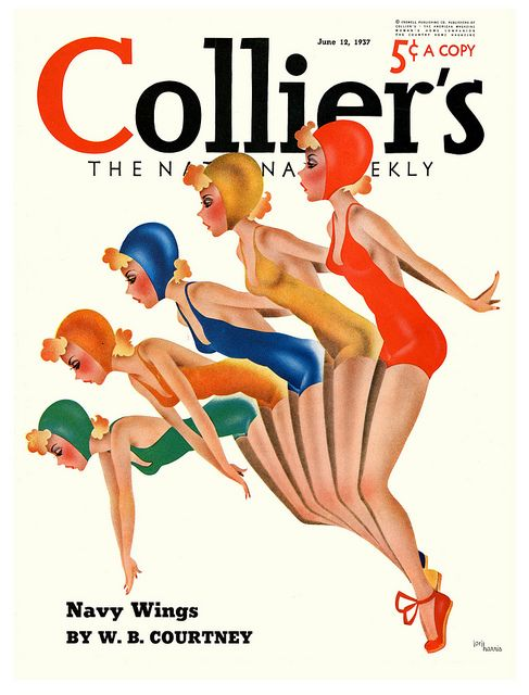 Synchronized bathing beauties on the June 12, 1937 cover of Collier's magazine. #vintage #1930s #swimsuits