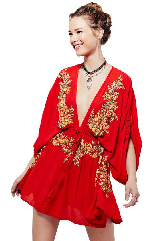 Robe de plage Elegant Fleur Broderie Rouge Crepe #Modebuycom #Achats #Acheter #basprix #discount #femme #femmes #france #Grande #gros #lingerie #nouveaucollection #pascher #paschere #prixdegros #qualité #robes #sexy #soldes #vente #vetements #vêtements