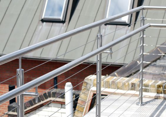 Stainless Steel Balustrade With Tensioned Wire Infill On A