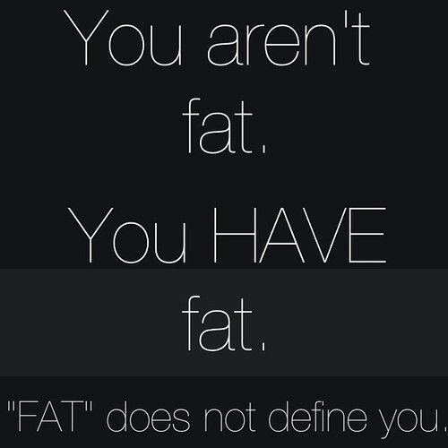 Fat does not define. I hate seeing people tear themselves down about being fat. Don't be skinny, be fit.