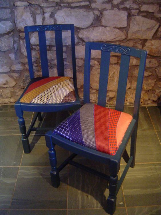 Chairs with seats reupholstered with vintage ties.  By textile artist Kate Jackson: