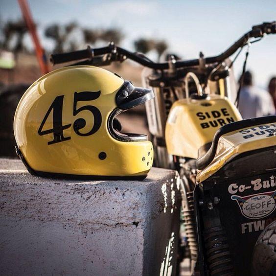 YELLOW PROFILE Geoff Cain's RUBY Castel and COBUILT flat Track bike waiting for the next heat @Maria Lopez Piñon @juliocuesta81 @cobuilt_geoff ...