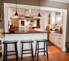 u shaped kitchen layout with pass through - Google Search