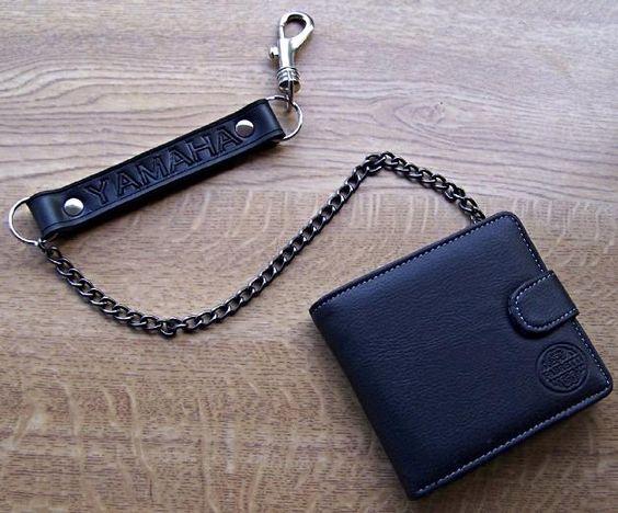 Yamaha bikers wallet with chain leather biker wallets by for Yamaha leather wallet