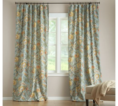 Blue Floral Curtain Vanessa Drape