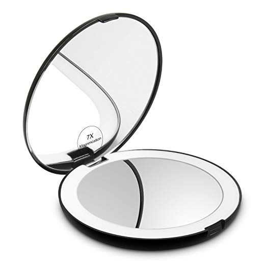 Herwiss Lighted Travel Makeup Mirror 1x Hd 7x Magnifying Folding
