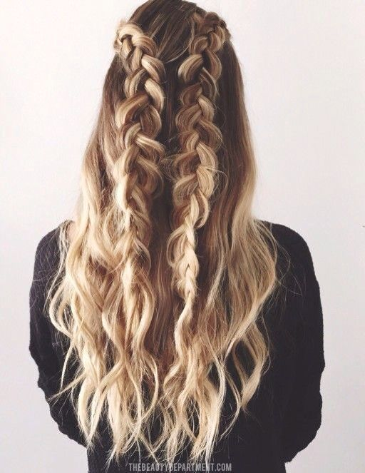 Waterfall Braid Half Up Half Down Braided Double Curly Long Hair Blondes Highlights Braided Hairstyles Easy Braided Hairstyles Hair Styles