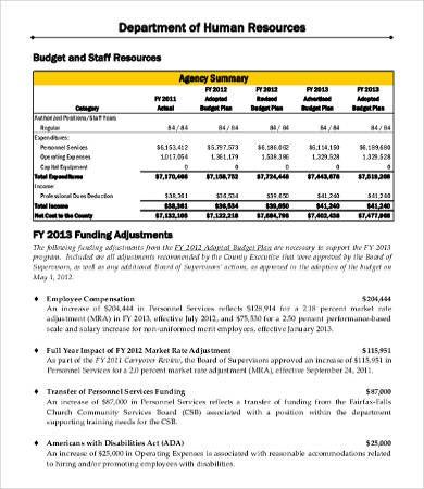 Department Budget Template