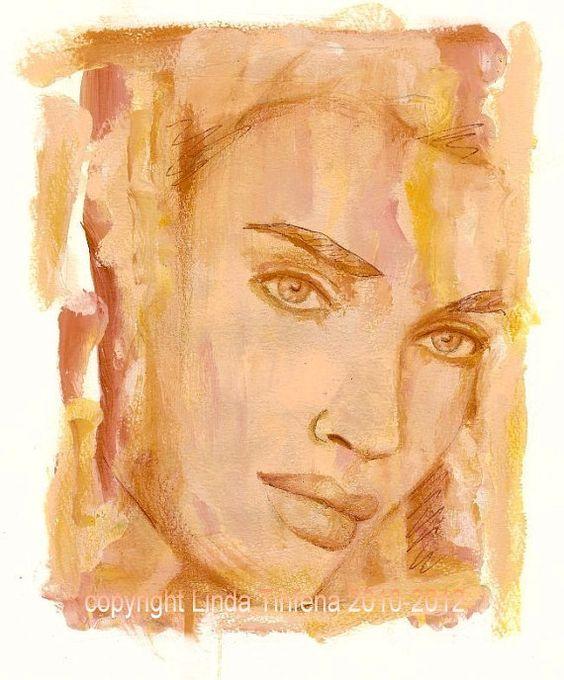 Contemporary portrait by TinfenaStudio on Etsy, $14.00
