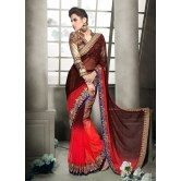 khoobee-women-s-red-and-brown-georgette-pallu-saree-material