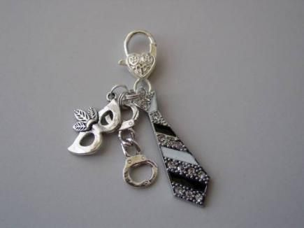 mask and tie cell phone charm