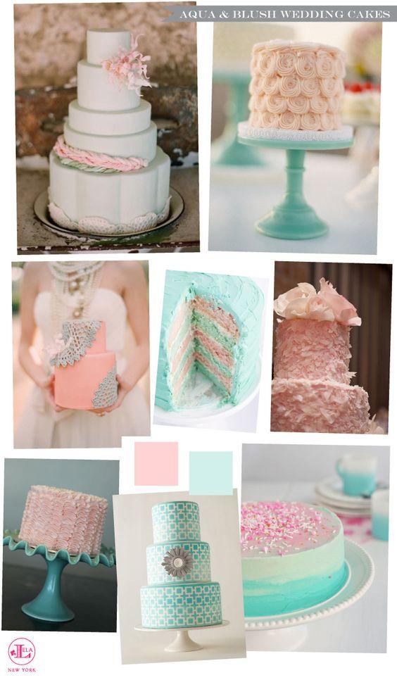Aqua and Blush Pink Wedding Cake Inspiration