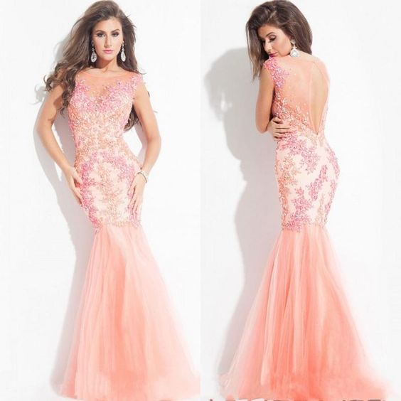 2015 Fabulous Sheer Scoop Lace Mermaid Evening Dress Capped Sleeve Illusion Back Organza Pageant Dresses for Women Custom Made Formal Dress, $126.71 | DHgate.com
