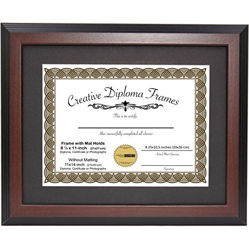 Creativepf 11x14mh B Mahogany Diploma Frame With Black Mat To Hold 8 5 By 11 Inch Graduation Documents With Inst Document Frame Frame