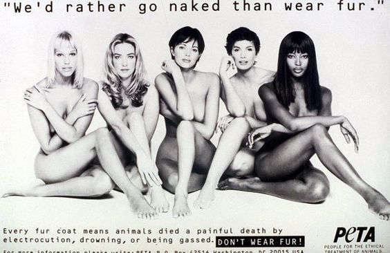 Supermodels for PETA's iconic 'We'd rather go naked than wear fur' campaign
