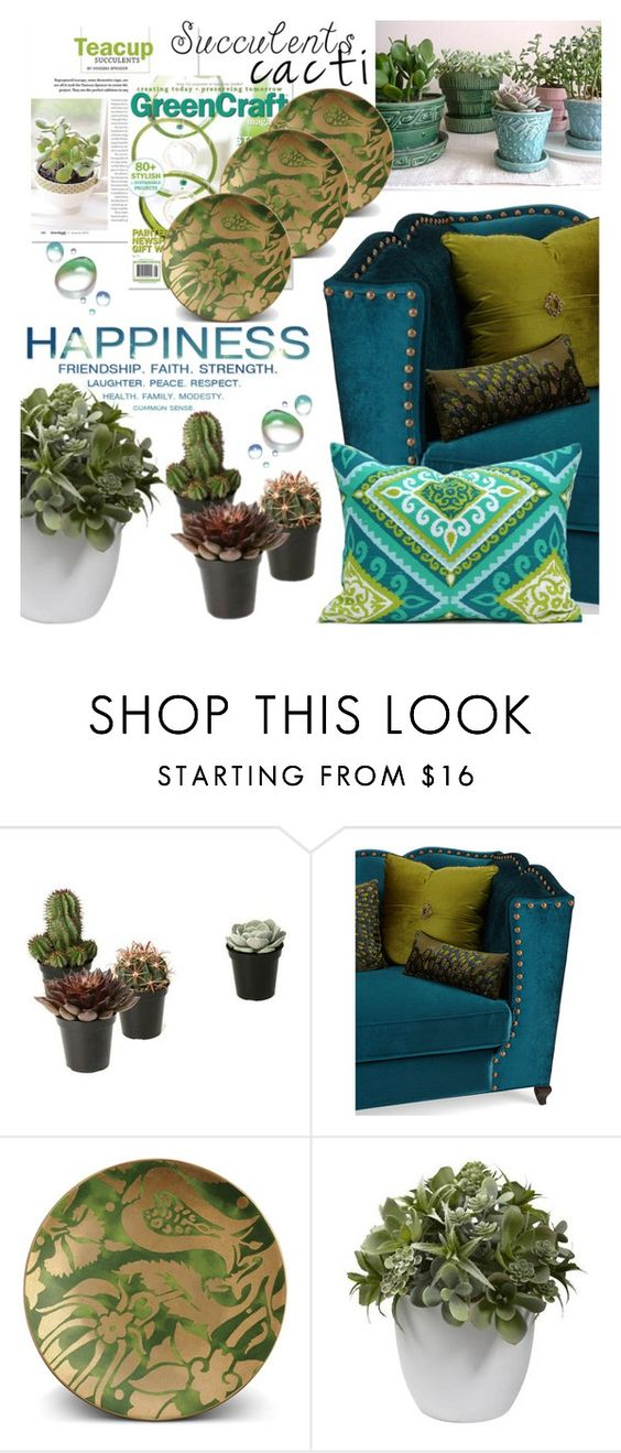 """""""Cacti +Succulents"""" by samketina ❤ liked on Polyvore featuring interior, interiors, interior design, home, home decor, interior decorating, Haute House, L'Objet, Nearly Natural and succulents"""