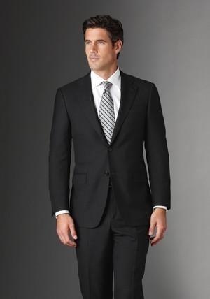 The Black Suit: Here's a great example of a black tie, grey