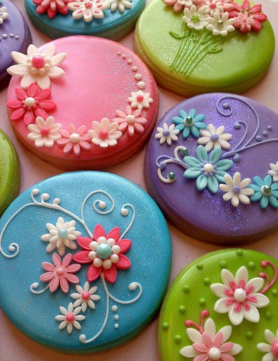 floral button cookies