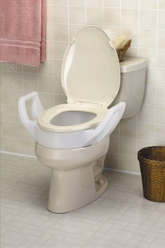 Elevated Raised Toilet Seat With Arms Standard Handicap Bathroom