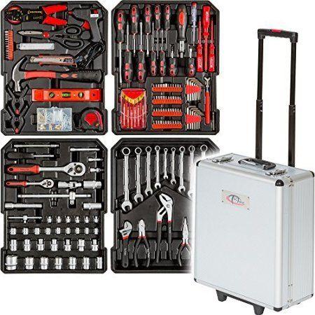 TecTake Maletín con herramientas 416pc piezas maleta trolley caja martillo…