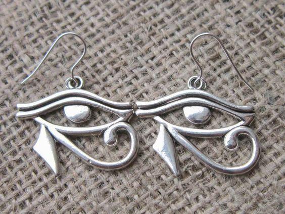 Egyptian Eye of Horus Silver Earrings