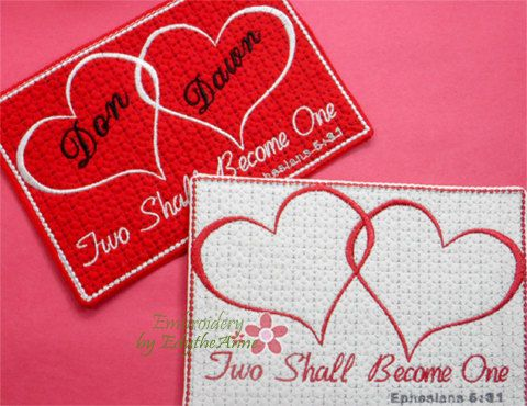 Two Shall Become One from Ephesians 5:31. In The Hoop Mug Mat/Mug ...