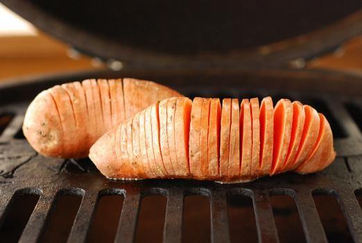 Fire Roasted Hassleback Sweet Potatoes