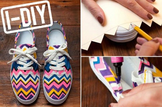 If your teen was SUPER into the Missoni craze (or any designer craze, really) but couldn't swing the prices, this tutorial is totally the way to go. PLUS you could do this with any design — I used to scribble song lyrics all over my Converse, so I just consider it an extension of that.