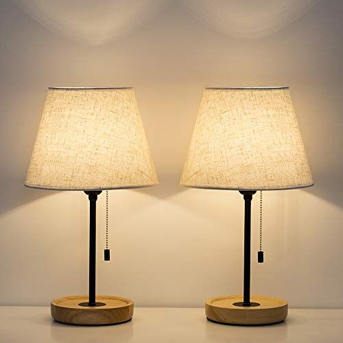 Haitral Modern Table Lamp Vintage Bedside Nightstand Lamps Set Of 2 With Wooden Base Small Modern Table Lamp Small Nightstand Lamps Bedroom Lamps Nightstand
