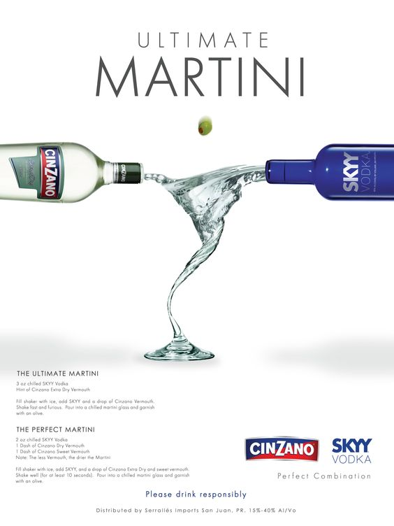 Skyy Vodka and Cinzano Vermouth AD