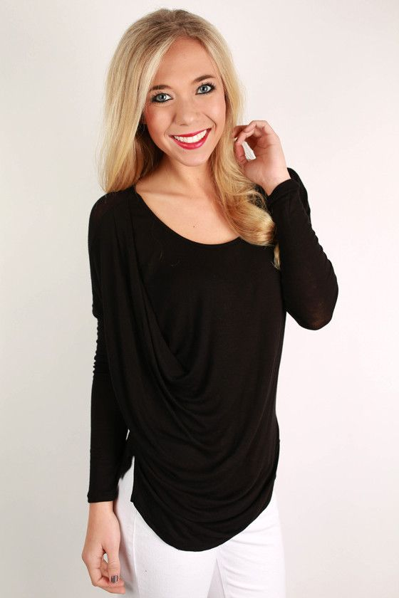 This fabulous drape tee is the perfect basic to keep in your closet! Pair it with skinnies or your favorite flared jeans with booties. Just add a glam necklace, and you'll look great for any occasion!