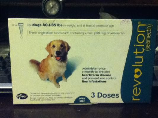Revolution 3pk - Flea and Tick and Heart worm.   For dogs 44.1 lbs - 85 lbs ONLY $30.00  YOU SAVE OVER $25.00