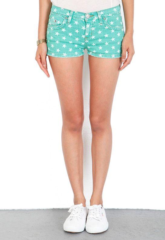 m2f Star Print Cut Off Shorts in Palm Green  $108