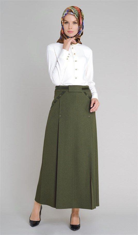 Setrems Tesettur Haki Setrems Tesettur Haki Etek Modelleri Skirt Fashion Long Skirt Outfits Long Sleeve Cocktail Dress