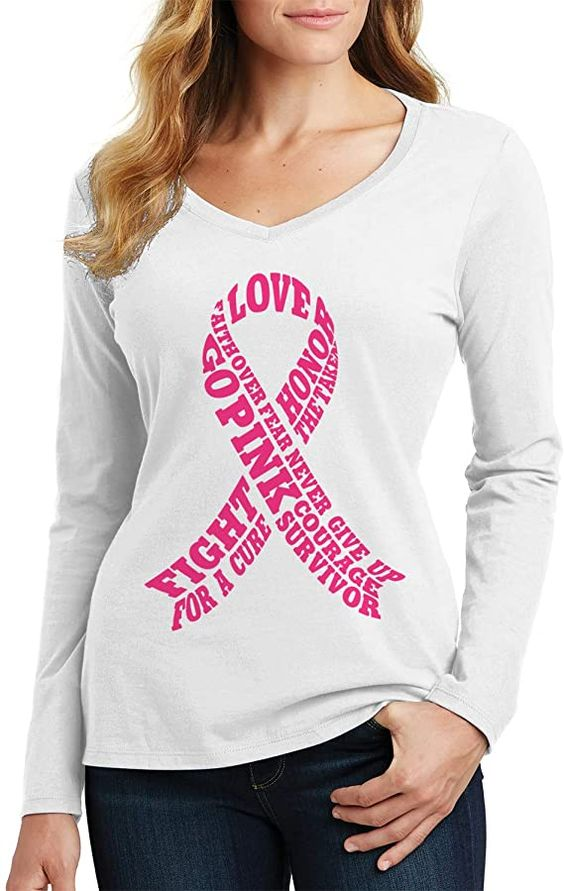 Amazon.com: Threadrock Women's Breast Cancer Awareness Typography Long Sleeve V-Neck T-Shirt: Clothing