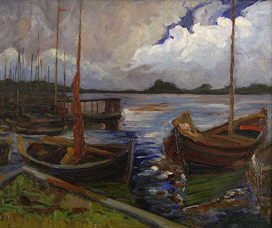 poboh:  Boote Am Wannsee, 1923, Mia Augustin. Germany (1877 - 1949)