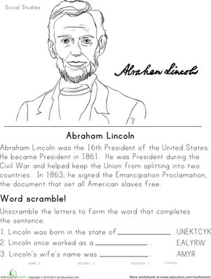 Printables Second Grade History Worksheets historical heroes abraham lincoln learning presidents day and second grade history worksheets lincoln