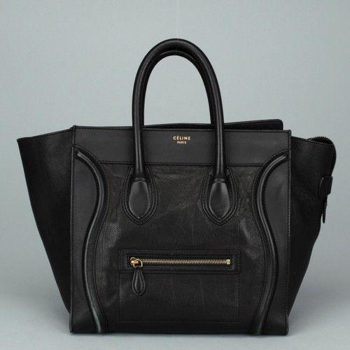 c50c65dc8a celine black patent leather handbag celine phantom bag pink - CELINE Black  Leather Mini Luggage Satchel Handbag AC708