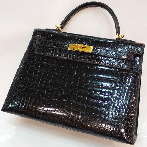 Crocodile Porosus Kelly Bag 32