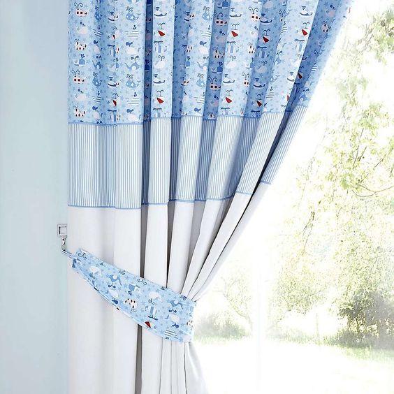 Kids Blue Nautical Nursery Blackout Pencil Pleat Curtains | Dunelm ...